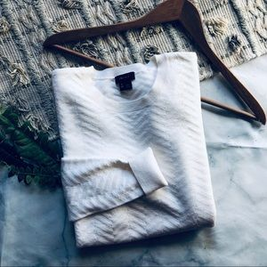 Theory Cream Wool Chevron Sweater